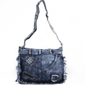 Дънкова дамска чанта за през рамо евтина лека и практична среден размер 0192884