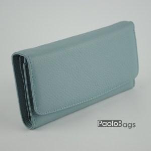 Дамско портмоне от естествена кожа с магнитно затваряне и син цвят 20625