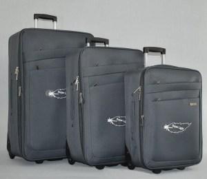 Куфар платнен с разширител комплект сив