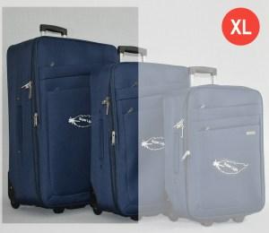 Син платнен куфар голям