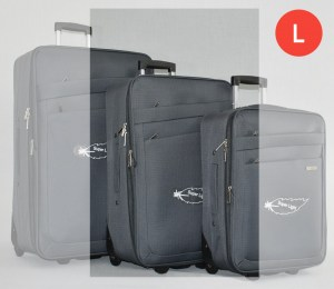 Сив платнен куфар среден