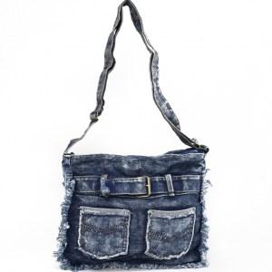 Дънкова дамска чанта за през рамо евтина лека и практична среден размер 0192885