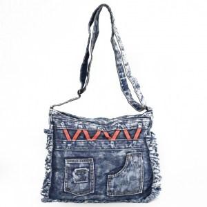 Дънкова дамска чанта за през рамо евтина лека и практична среден размер 0192886