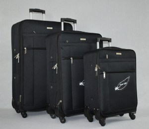 Куфар платнен черен комплект с четири колела