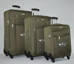 Куфар платне зелен комплект с четири колела