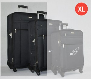 Черен платнен куфар голям с четири колела
