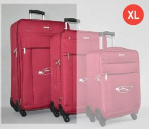 Червен платнен куфар голям с четири колела