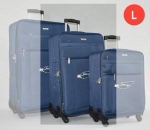 Син платнен куфар среден с четири колела