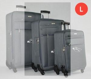 Сив платнен куфар среден с четири колела