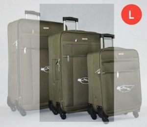 Зелен платнен куфар среден с четири колела