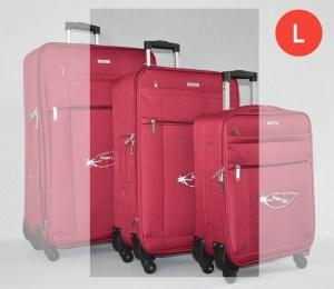 Червен платнен куфар среден с четири колела
