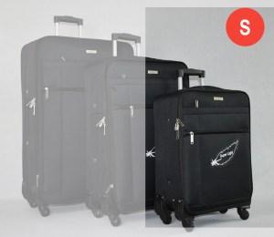 Черен платнен куфар малък с четири колела