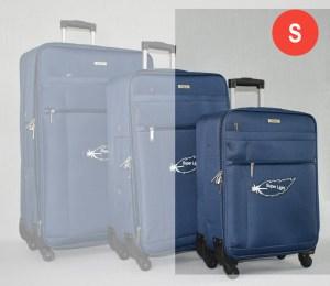 Син платнен куфар малък с четири колела