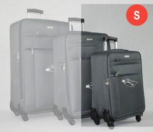 Сив платнен куфар малък с четири колела