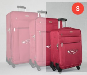 Червен платнен куфар малък с четири колела