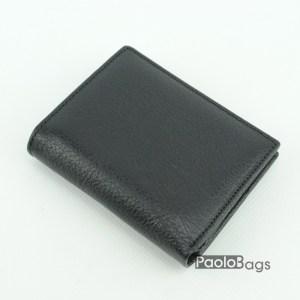 Вертикален мъжки портфейл от естествена кожа черен 18086