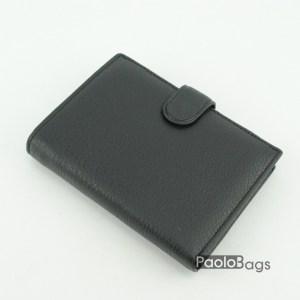 Вертикален мъжки портфейл от естествена кожа черен 18085