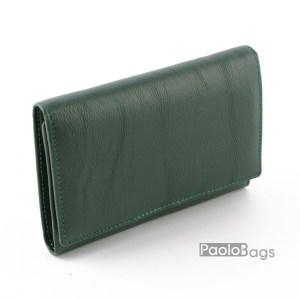 Дамско портмоне от естествена кожа малко зелено 27312