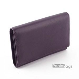 Дамско портмоне от естествена кожа малко лилаво 27313