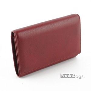 Дамско портмоне от естествена кожа малко бордо 27314