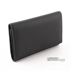 Дамско портмоне от естествена кожа малко черно 27315