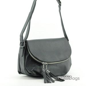 Евтина дамска чанта за през рамо черна 18052