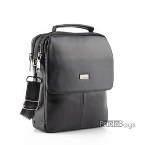 Луксозна мъжка чанта с две отделения за през рамо