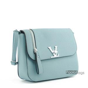Малка дамска чанта за през рамо класически дизайн и форма синя