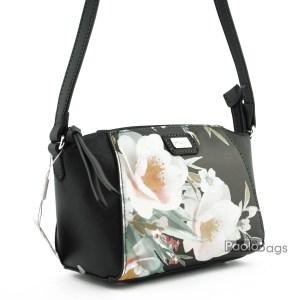 Черна малка дамска чанта за през рамо с цветен принт цветя топ модел и качество