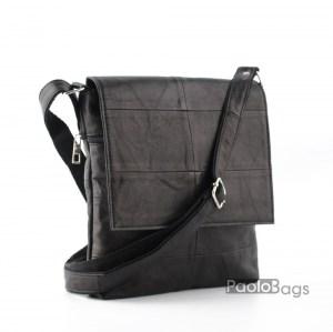 Мъжка чанта от естествена кожа ц капак стилна и елегантна