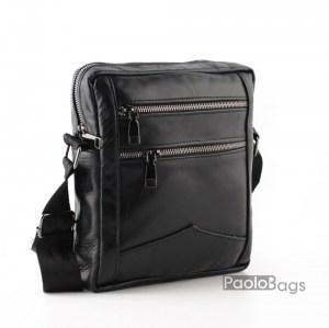 Мъжка чанта от естествена кожа без капак стандартен размер