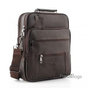 Мъжка чанта от естествена кожа голяма и обемна