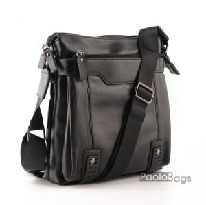 Луксозна мъжка чанта от естествена кожа без капак