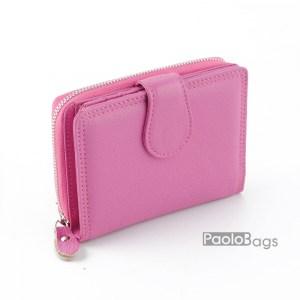 Дамско портмоне от естествена кожа розово 27079