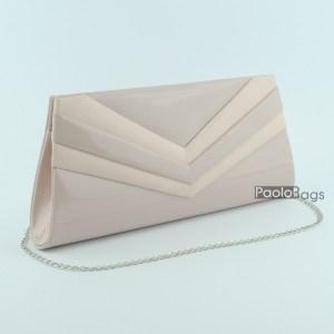 Розова дамска чанта тип клъч плик вечерна официална с ефектни ивици стилна пепел