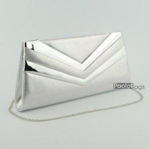 Сребърна дамска чанта тип клъч плик вечерна официална с ефектни ивици стилна пепел