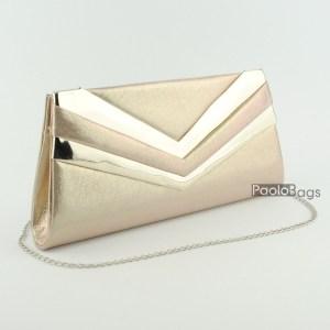 Златна дамска чанта тип клъч плик вечерна официална с ефектни ивици стилна пепел