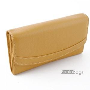 Луксозно дамско портмоне от естествена кожа жълто 27100