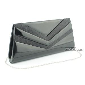 Черна лачена дамска чанта тип клъч плик вечерна официална с ефектни ивици стилна пепел