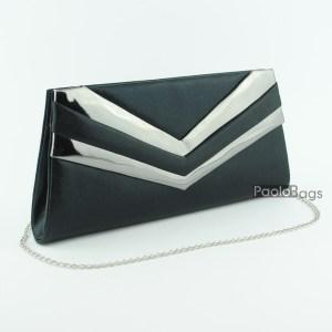 Черна дамска чанта тип клъч плик вечерна официална с ефектни ивици стилна пепел