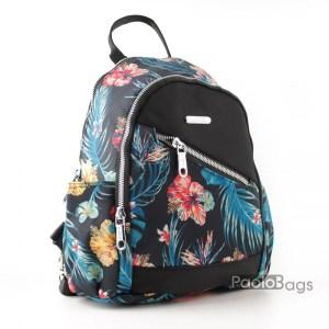 Евтина дамска раница от плат с цветна картинка с цветя 27670