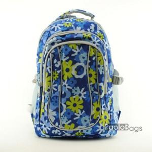 Ученическа раница евтина синя с цветя