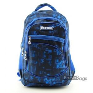 Ученическа раница евтина с много джобчета и подсилени дръжки шарка в син десен