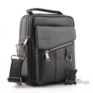 Луксозна мъжка чанта от естествена кожа с диагонален капак