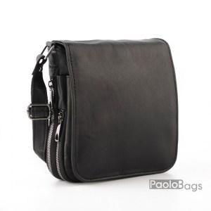 Луксозна мъжка чанта от естествена кожа с разширители