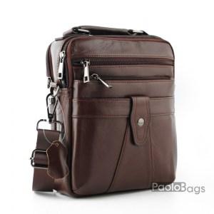 Луксозна мъжка чанта от естествена кожа с три джоба