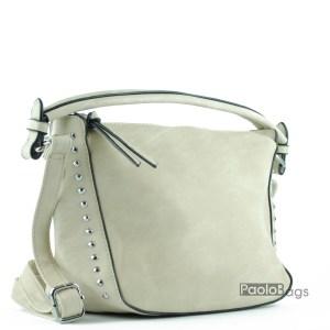 Бежова дамска чанта за през рамо с нежни капсички с удобна дръжка за носене в ръка
