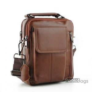 Луксозна мъжка чанта от естествена кожа с джоб за телефон