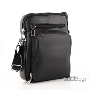 Луксозна мъжка чанта от еко кожа с джоб за телефон