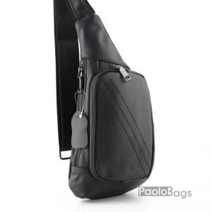 Луксозна мъжка чанта от естествена кожа за гърди или гръб